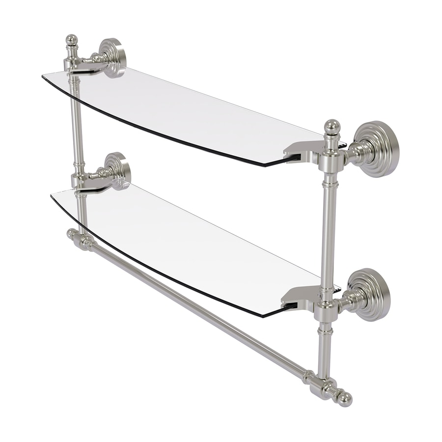 Allied Brass Retro Wave 2-Tier Satin Nickel Brass Bathroom Shelf