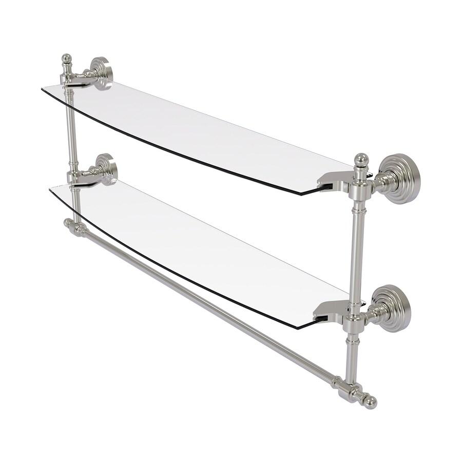 Allied Brass Retro Wave 2-Tier Satin Nickel Brass Bathroom Shelf