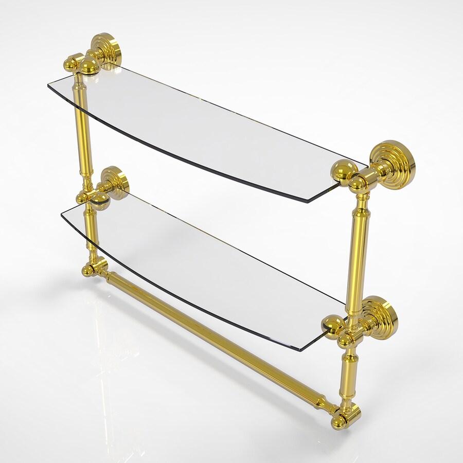 Allied Brass Waverly Place 2-Tier Polished Brass Bathroom Shelf