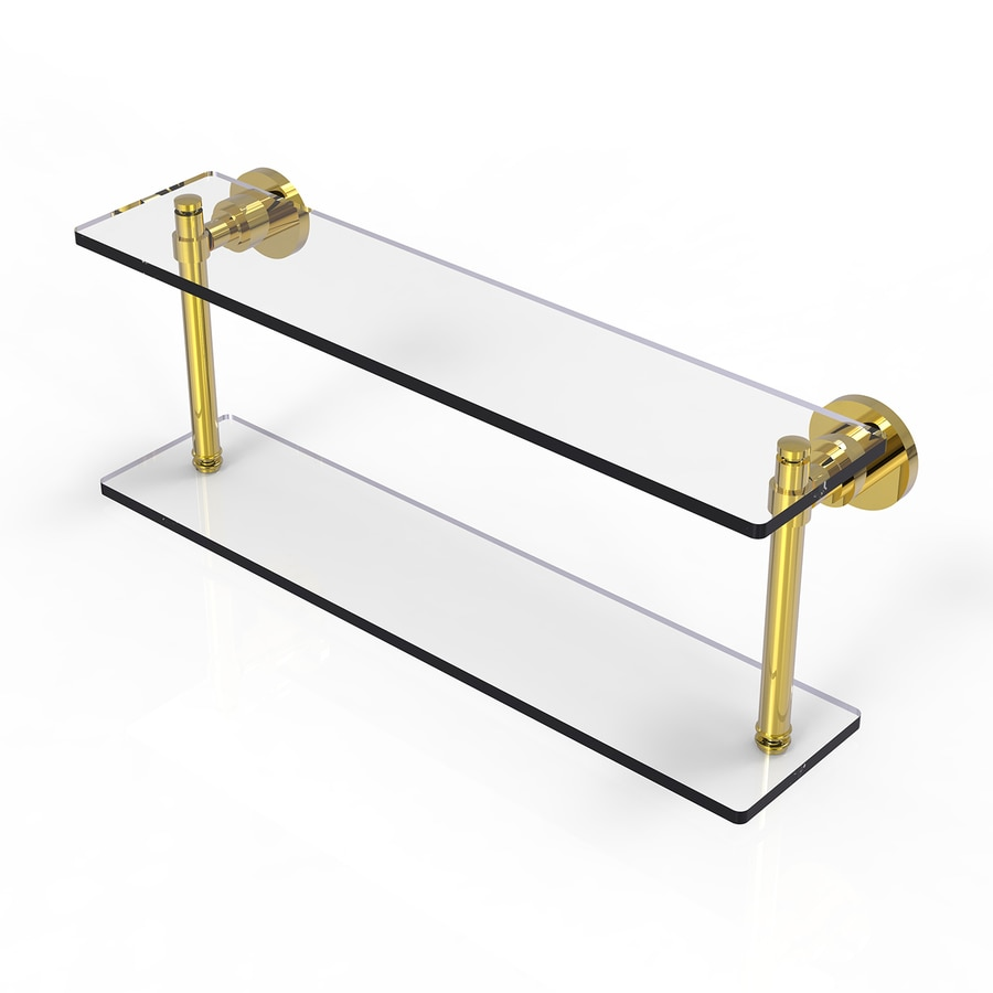 Allied Brass Washington Square 2-Tier Polished Brass Brass Bathroom Shelf