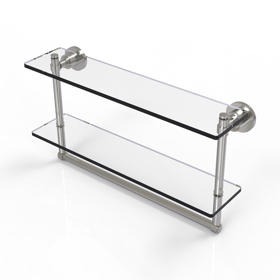 Allied Brass Washington Square 2-Tier Satin Nickel Brass Bathroom Shelf