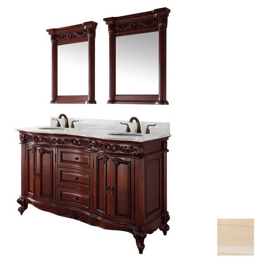 Wyndham Collection 61 In Cherry Eleanor Double Sink Bathroom Vanity With Top In The Bathroom Vanities With Tops Department At Lowes Com
