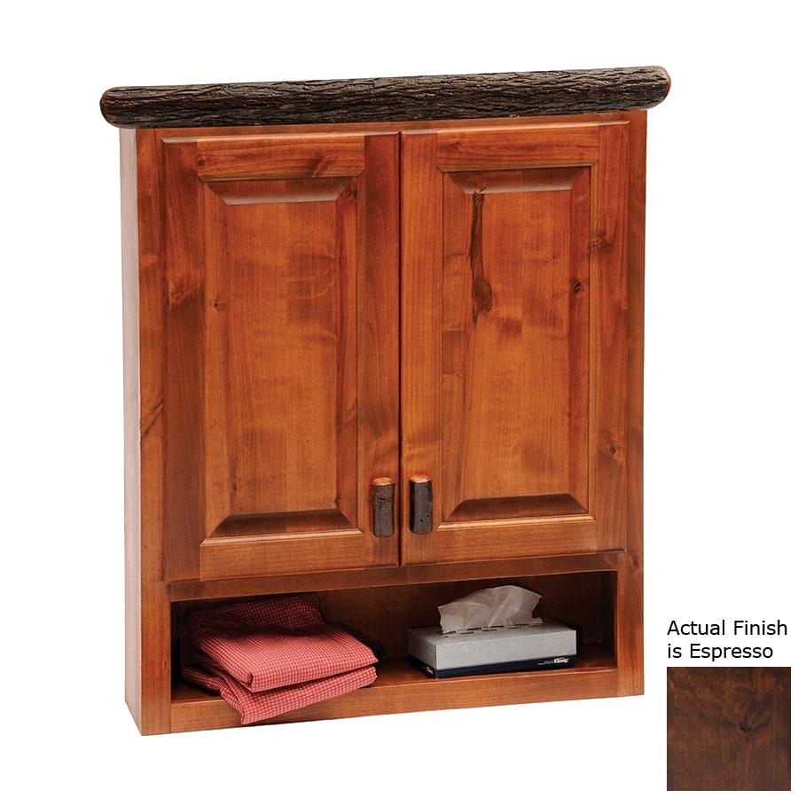 Fireside Lodge Furniture 32-in W x 36-in H x 8-in D Espresso Hickory Bathroom Wall Cabinet