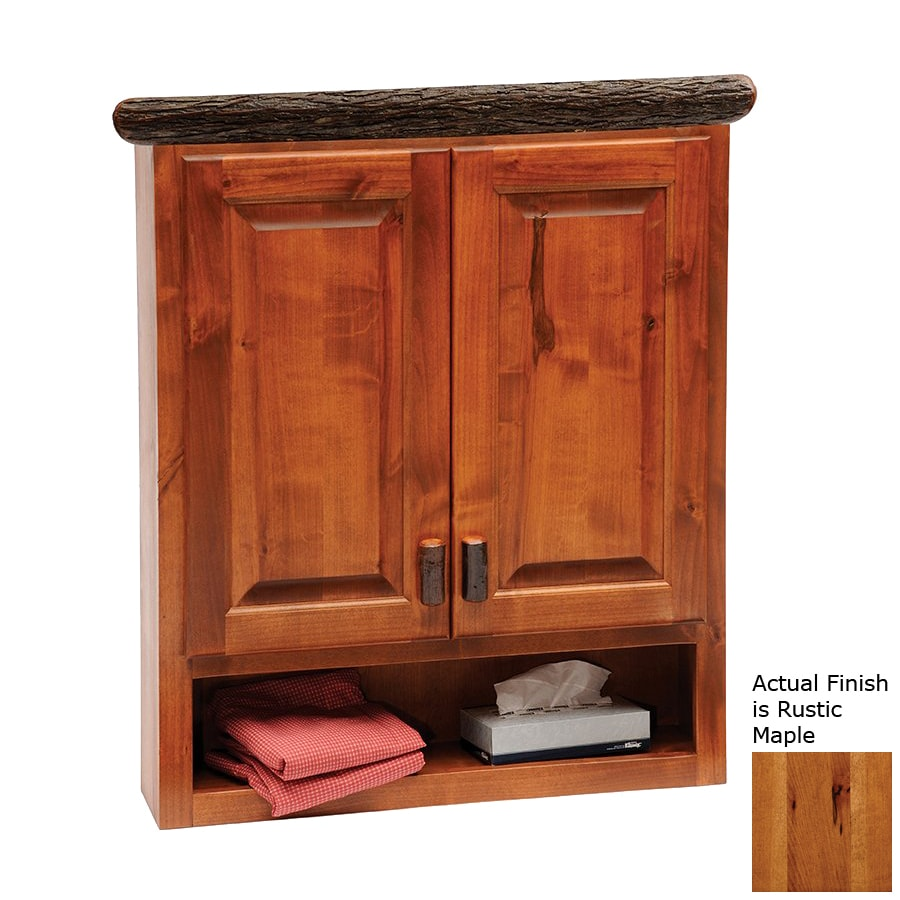 Fireside Lodge Furniture Hickory 32-in W x 36-in H x 8-in D Rustic Maple Bathroom Wall Cabinet