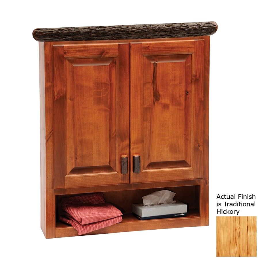 Fireside Lodge Furniture Hickory 32-in W x 36-in H x 8-in D Traditional Hickory Bathroom Wall Cabinet