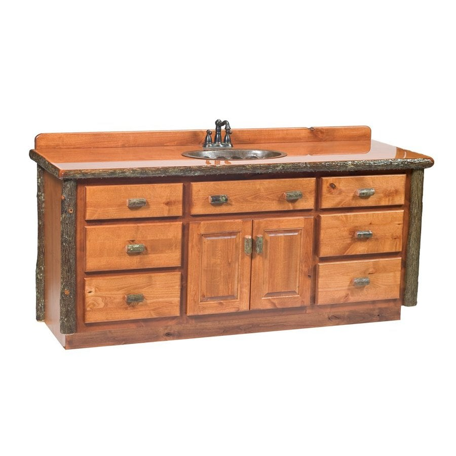 Shop Fireside Lodge Furniture Hickory Rustic Alder 65 In No Sink Hickory Bathroom Vanity With