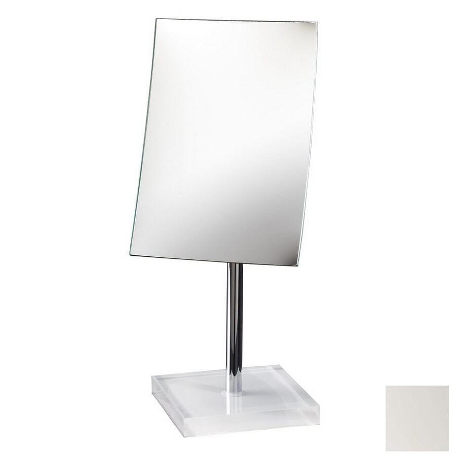 Nameeks Gedy White Plastic Magnifying Countertop Vanity Mirror