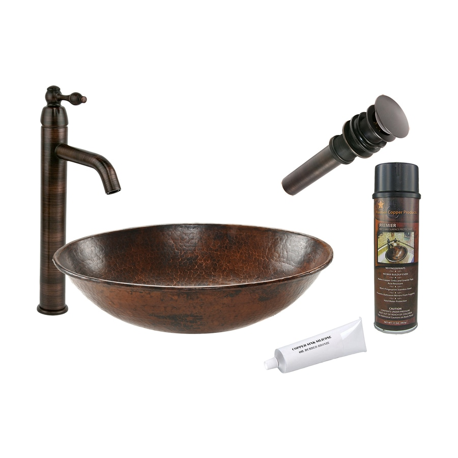 Premier Copper Products Oil-Rubbed Bronze Copper Vessel Oval Bathroom Sink with Faucet (Drain Included)
