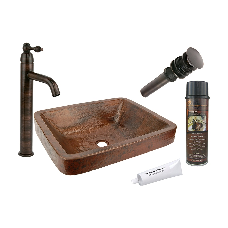 Premier Copper Products Oil-Rubbed Bronze Copper Vessel Rectangular Bathroom Sink with Faucet (Drain Included)