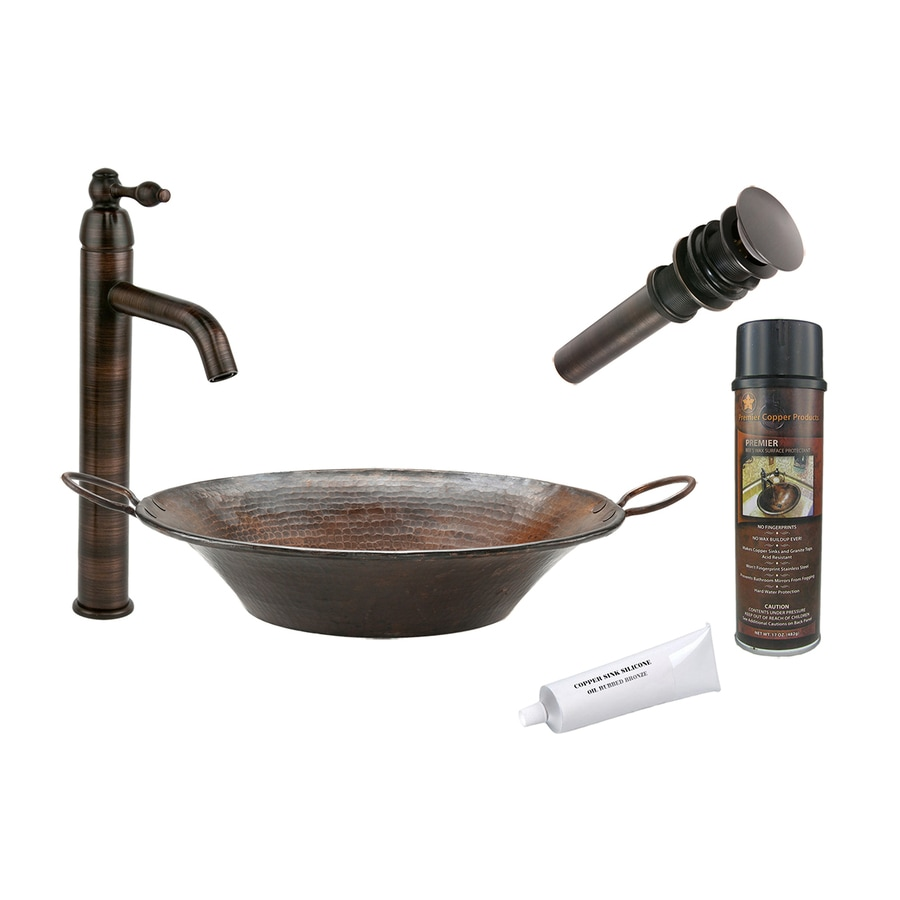 Premier Copper Products Oil-Rubbed Bronze Copper Vessel Round Bathroom Sink with Faucet (Drain Included)