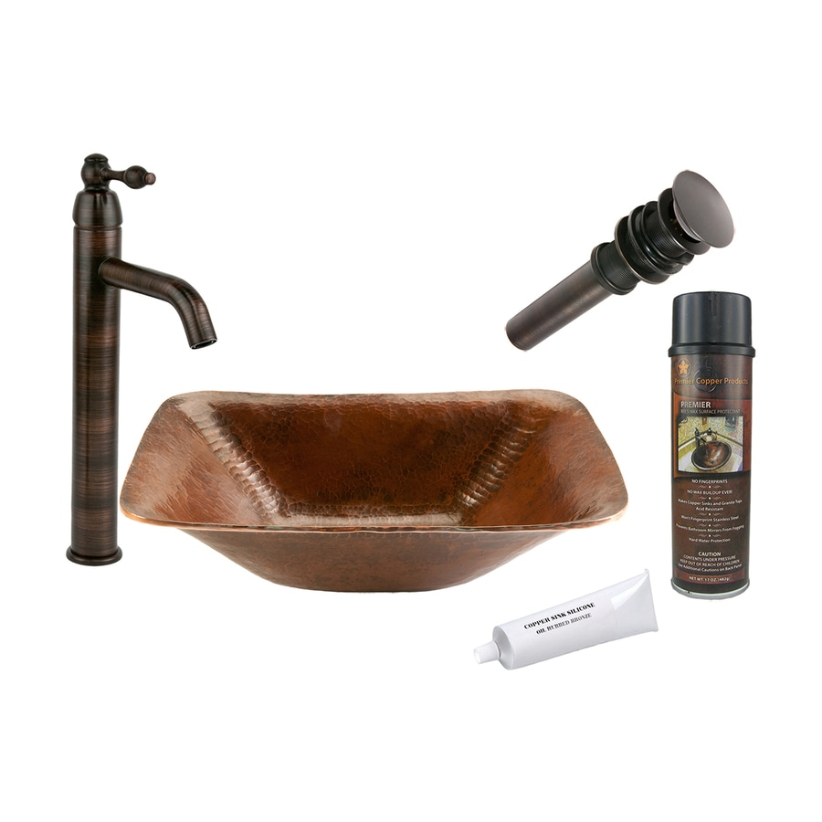 Premier Copper Products Oil-Rubbed Bronze Copper Vessel Square Bathroom Sink with Faucet (Drain Included)