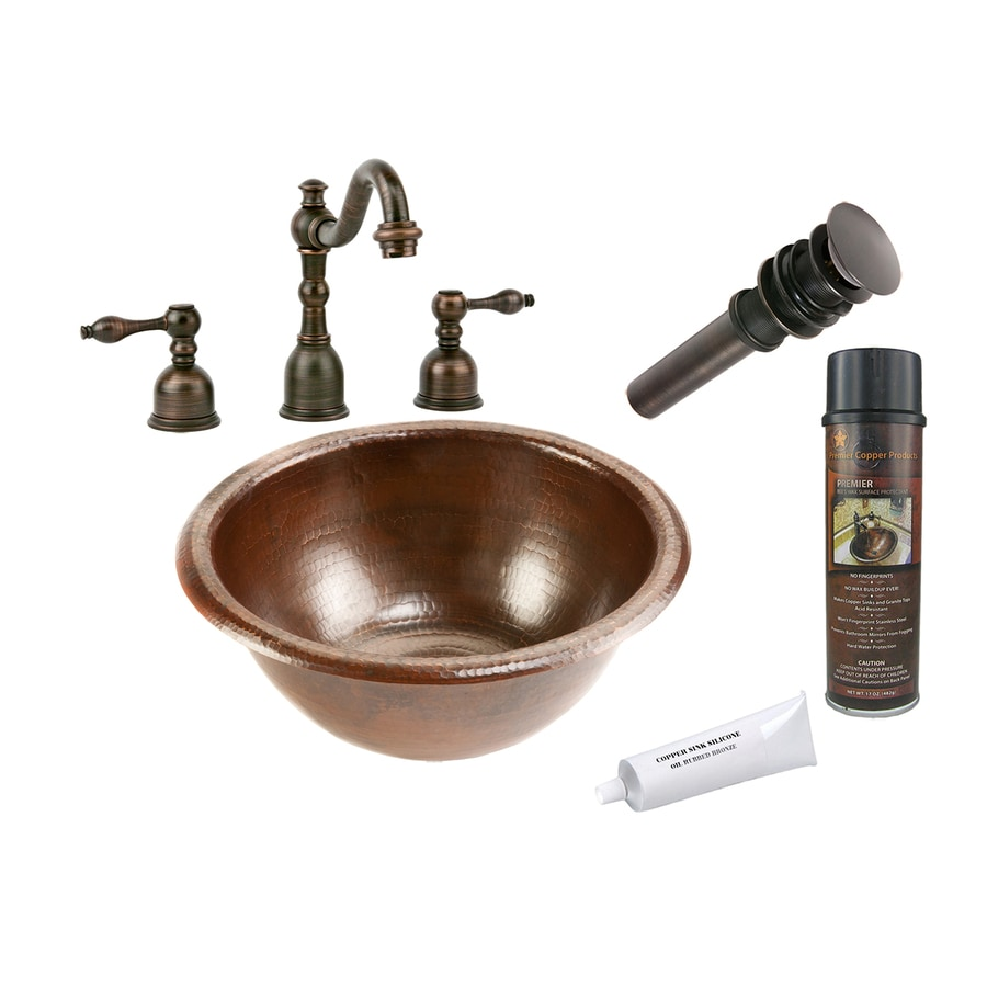 Premier Copper Products Oil-Rubbed Bronze Copper Drop-In Round Bathroom Sink Drain Included