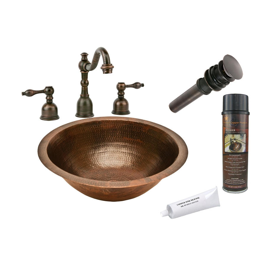 Premier Copper Products Oil-Rubbed Bronze Copper Undermount Round Bathroom Sink Drain Included