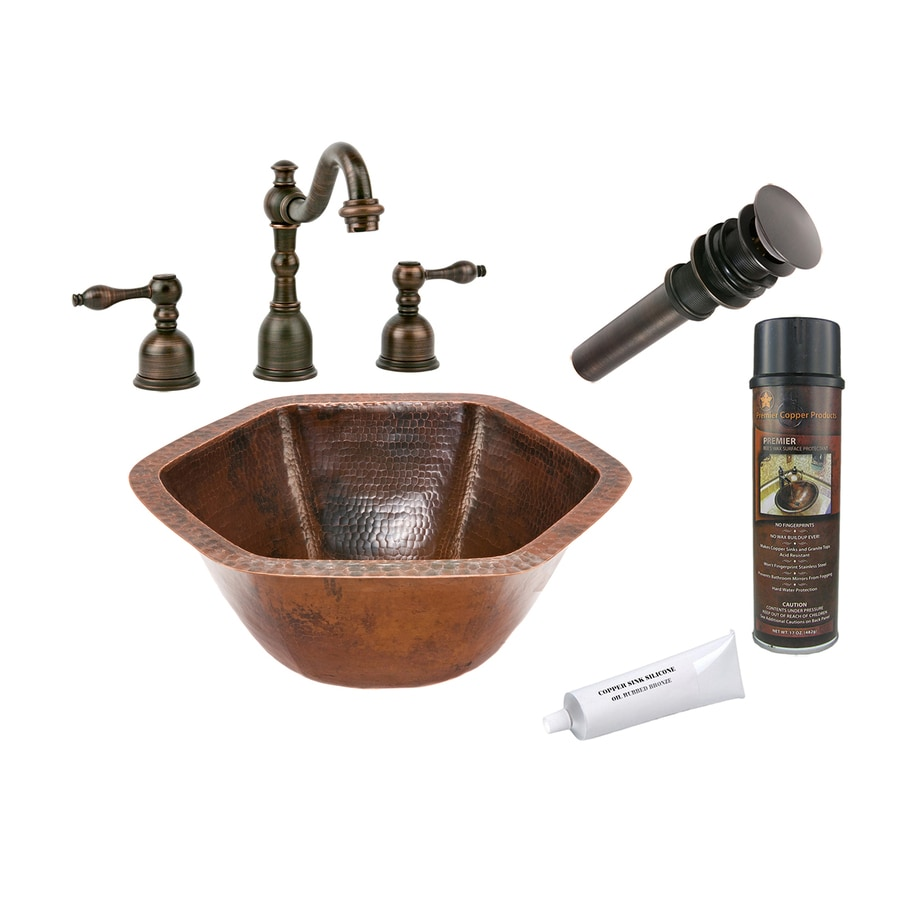 Premier Copper Products Oil-Rubbed Bronze Copper Undermount Hexagonal Bathroom Sink Drain Included