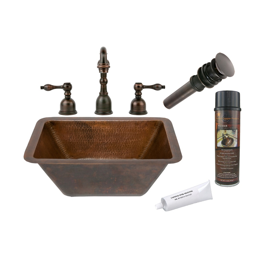 Premier Copper Products Oil-Rubbed Bronze Copper Undermount Rectangular Bathroom Sink Drain Included