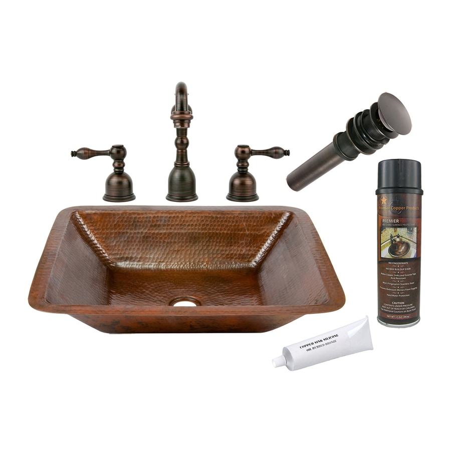 bronze copper undermount rectangular bathroom sink drain included