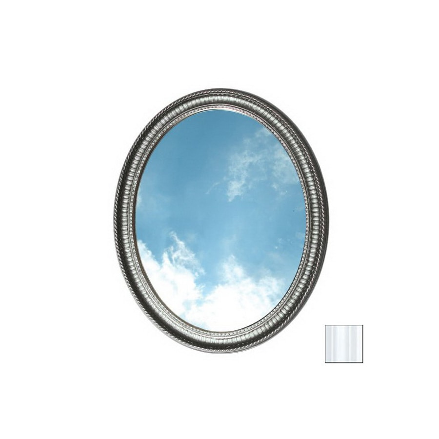 American Pride Middleton 25-in W x 31-in H White Oval Bathroom Mirror