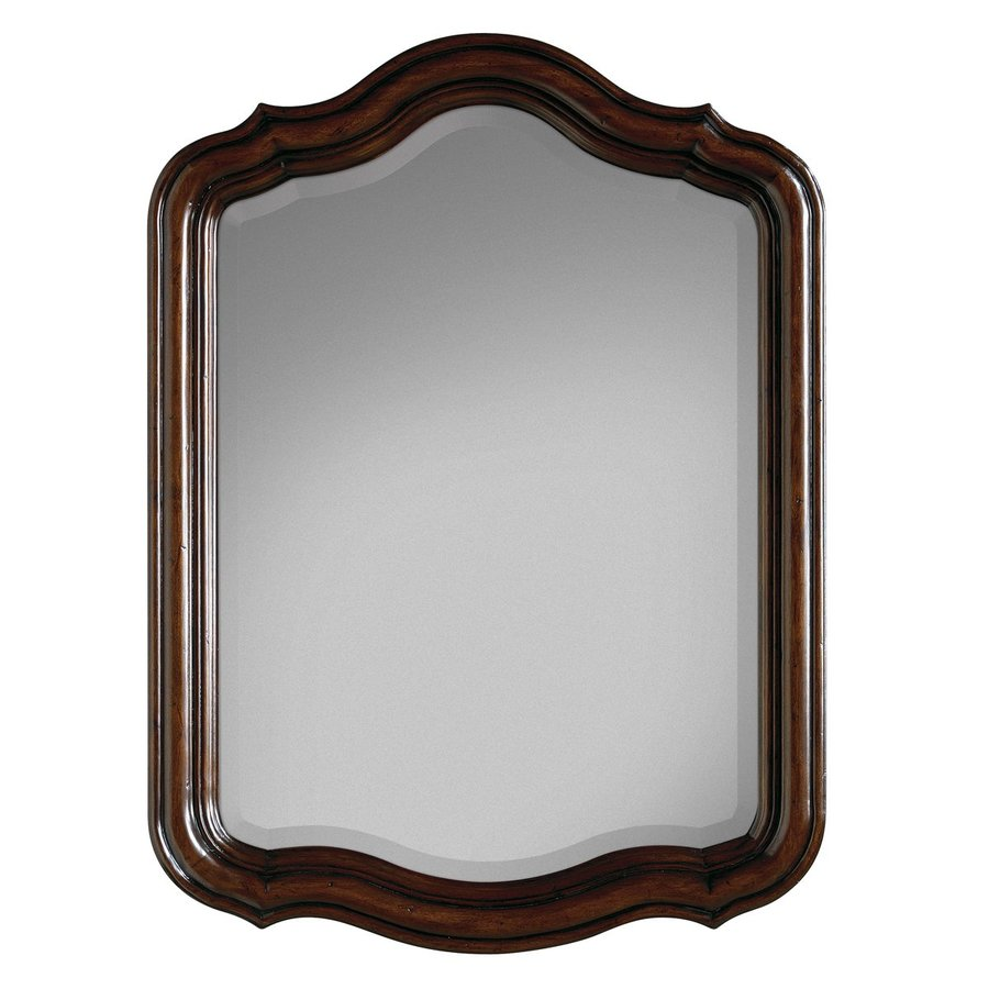 Cole & Company Premier 28-in x 38-in Aged chestnut Arch Framed Bathroom Mirror