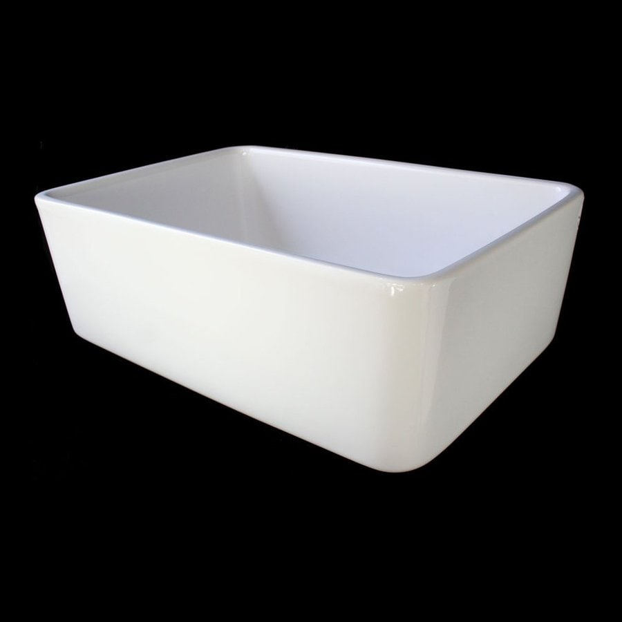 Alfi 16-in x 23.5-in White Single-Basin Fireclay Apron Front/Farmhouse Residential Kitchen Sink