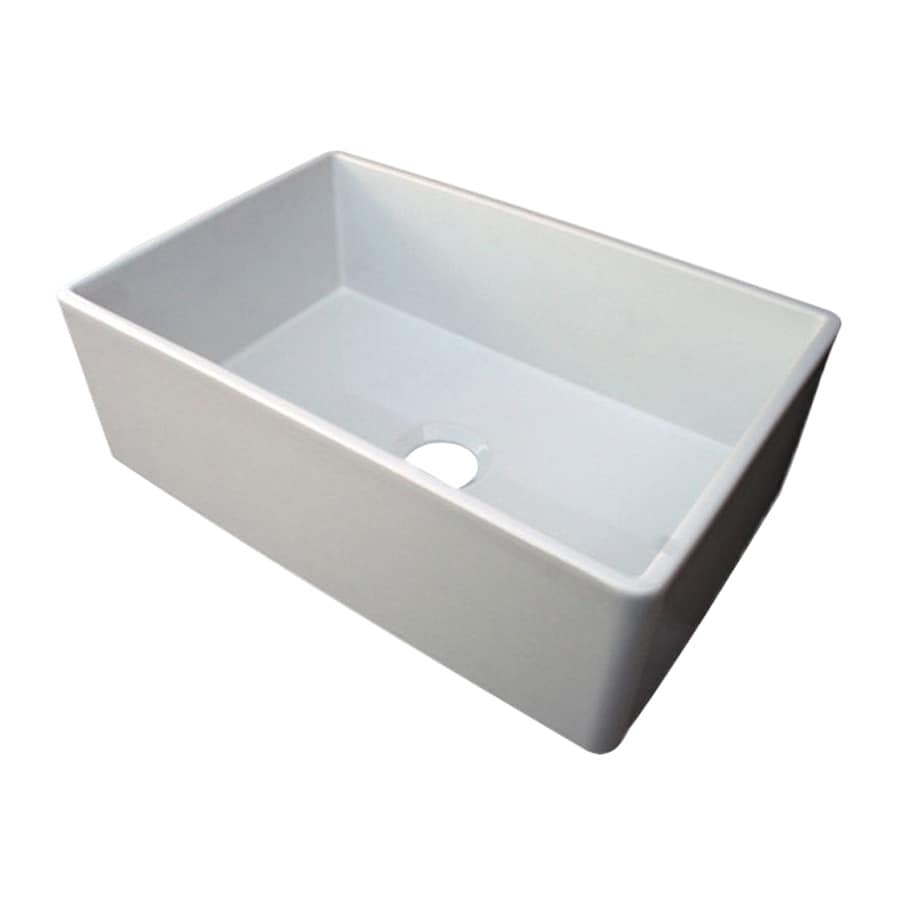 Alfi 19.75-in x 29.87-in White Single-Basin Fireclay Apron Front/Farmhouse Residential Kitchen Sink
