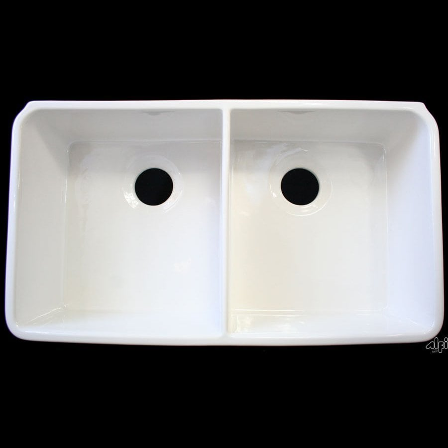 Alfi 17.75-in x 32-in White Double-Basin Fireclay Apron Front/Farmhouse Residential Kitchen Sink