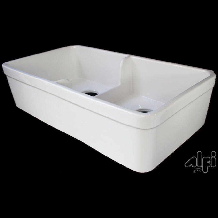 Alfi 17.75-in x 32-in White Single-Basin-Basin Fireclay Apron Front/Farmhouse (Customizable)-Hole Residential Kitchen Sink