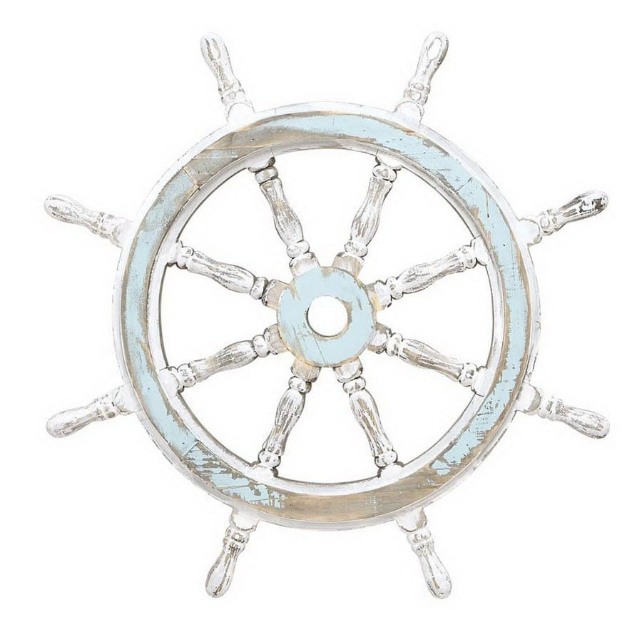 Woodland Imports 24-in x 2-ft x 2-in Interior/Exterior Nautical Maritime Decor Wooden Ship Wheel Accent