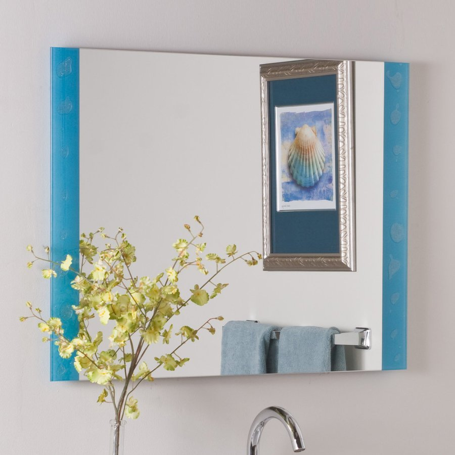 Shop decor wonderland the spa 31 5 in x 23 6 in blue for Bathroom decor mirrors