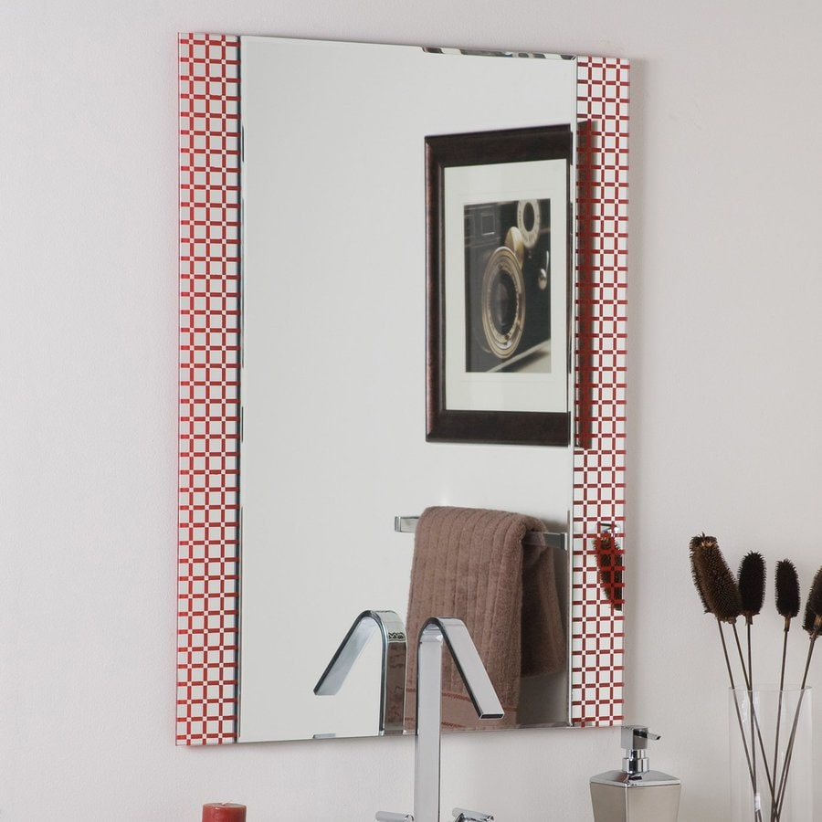 Decor Wonderland Hip To Be Square 23.6-in x 31.5-in Red Rectangular Framed Bathroom Mirror