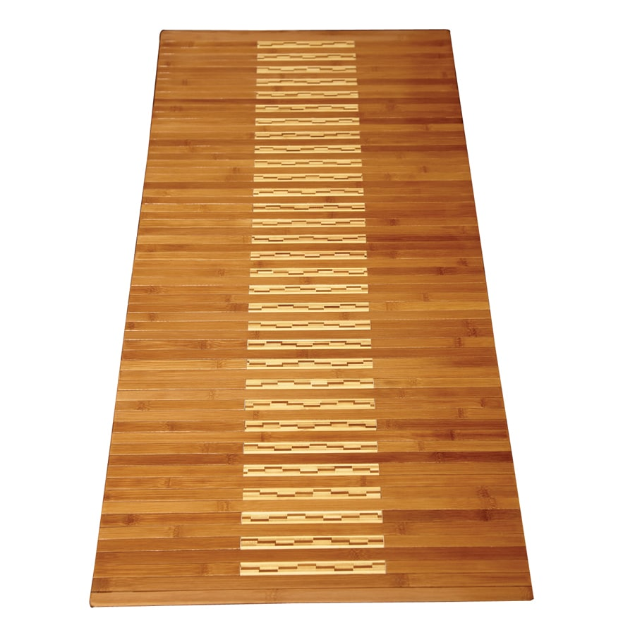 Anji Mountain 48-in x 20-in Brown Wood Bath Mat
