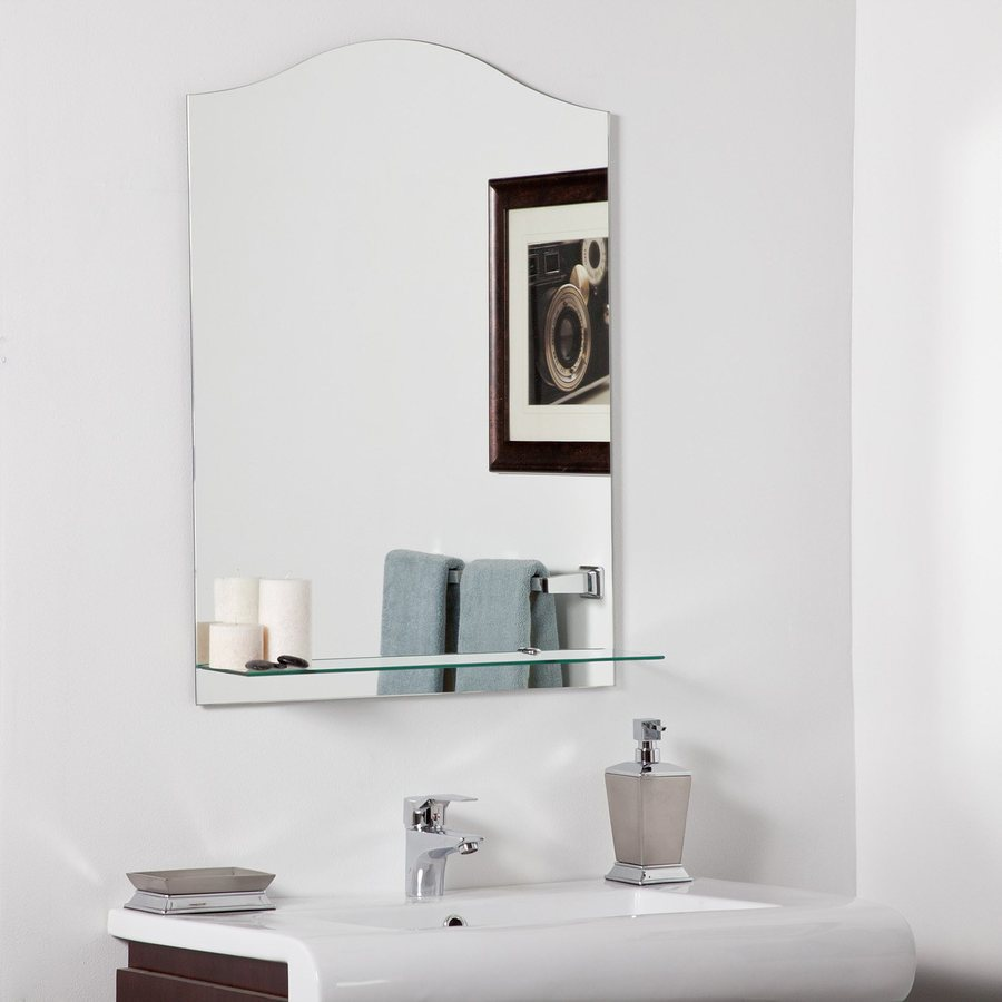 Decor Wonderland Abigail 23.6-in W x 31.5-in H Arch Frameless Bathroom Mirror with Hardware and Beveled Edges