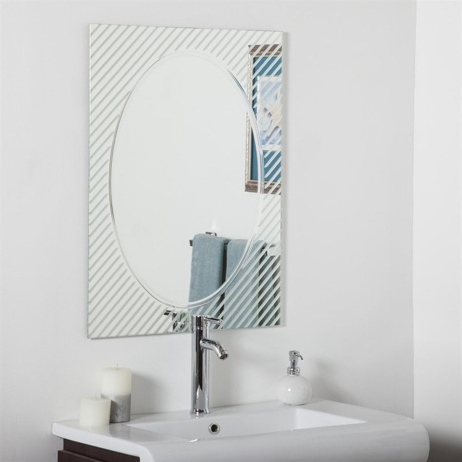 Decor Wonderland Allegro 23.6-in W x 31.5-in H Rectangular Frameless Bathroom Mirror with Hardware and V-Groove Edges
