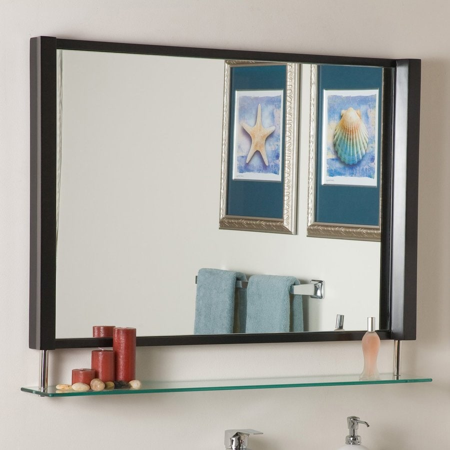Decor Wonderland 39.5-in x 23.5-in Brown Rectangular Framed Bathroom Mirror