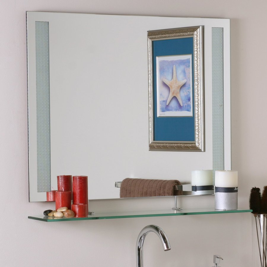 Decor Wonderland Ricardo 31.5-in W x 23.6-in H Rectangular Frameless Bathroom Mirror with Hardware and Beveled Edges