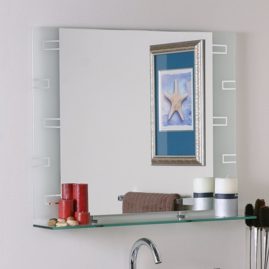 moen resist mirror bathroom in brushed rectangular spot w h large lowes nickel at extra hardware rockcliff frameless x pin mirrors