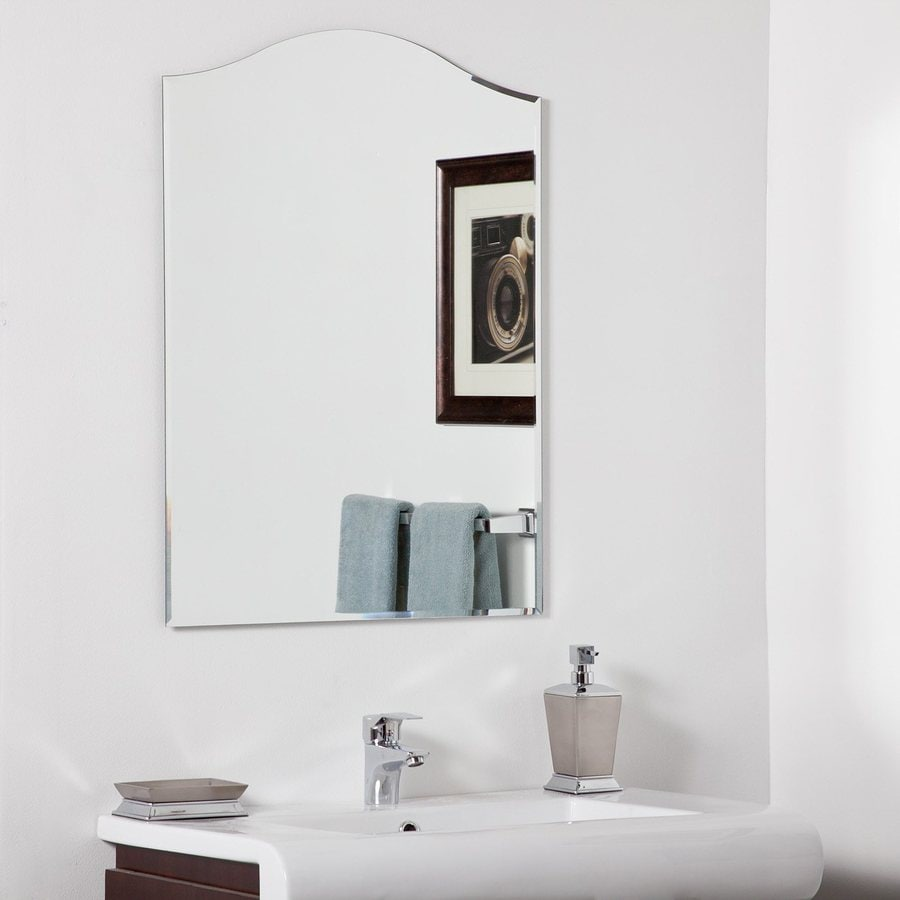 Decor Wonderland Amelia 23.6-in W x 31.5-in H Arch Frameless Bathroom Mirror with Hardware and Beveled Edges