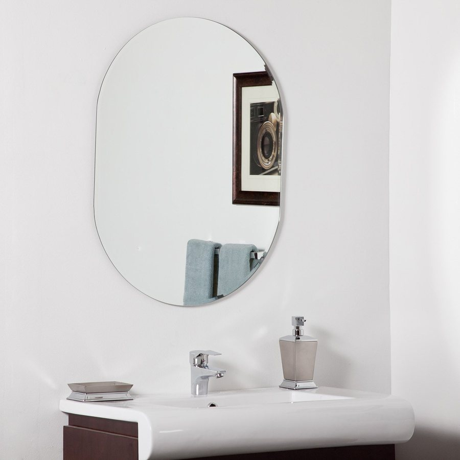 Decor Wonderland Khloe 23.6-in x 31.5-in Oval Frameless Bathroom Mirror