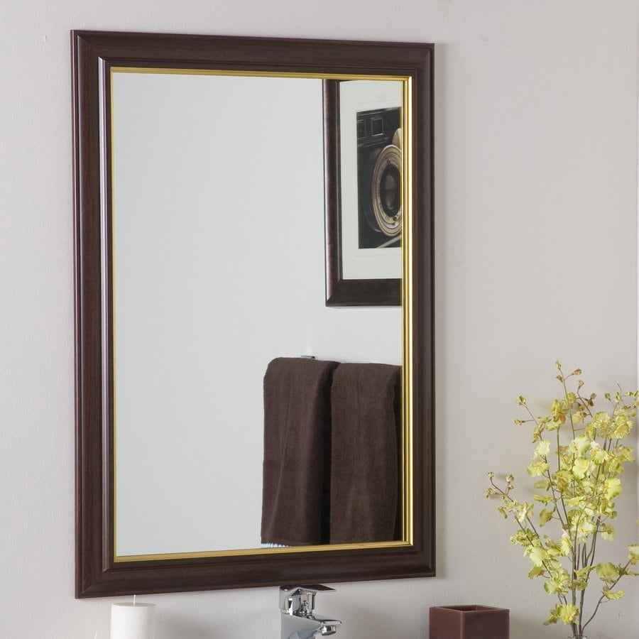 Shop decor wonderland milan 23 6 in x 31 5 in brown for Bathroom decor mirrors