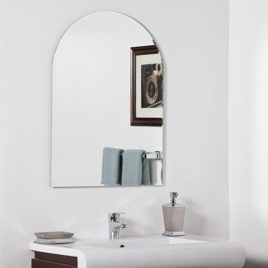 Decor Wonderland Rita 23.6-in W x 31.5-in H Arch Frameless Bathroom Mirror with Hardware and Beveled Edges