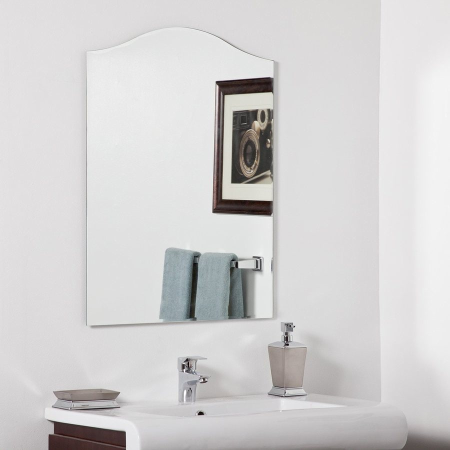 Decor Wonderland Allison 23.6-in W x 31.5-in H Arch Frameless Bathroom Mirror with Hardware and Beveled Edges