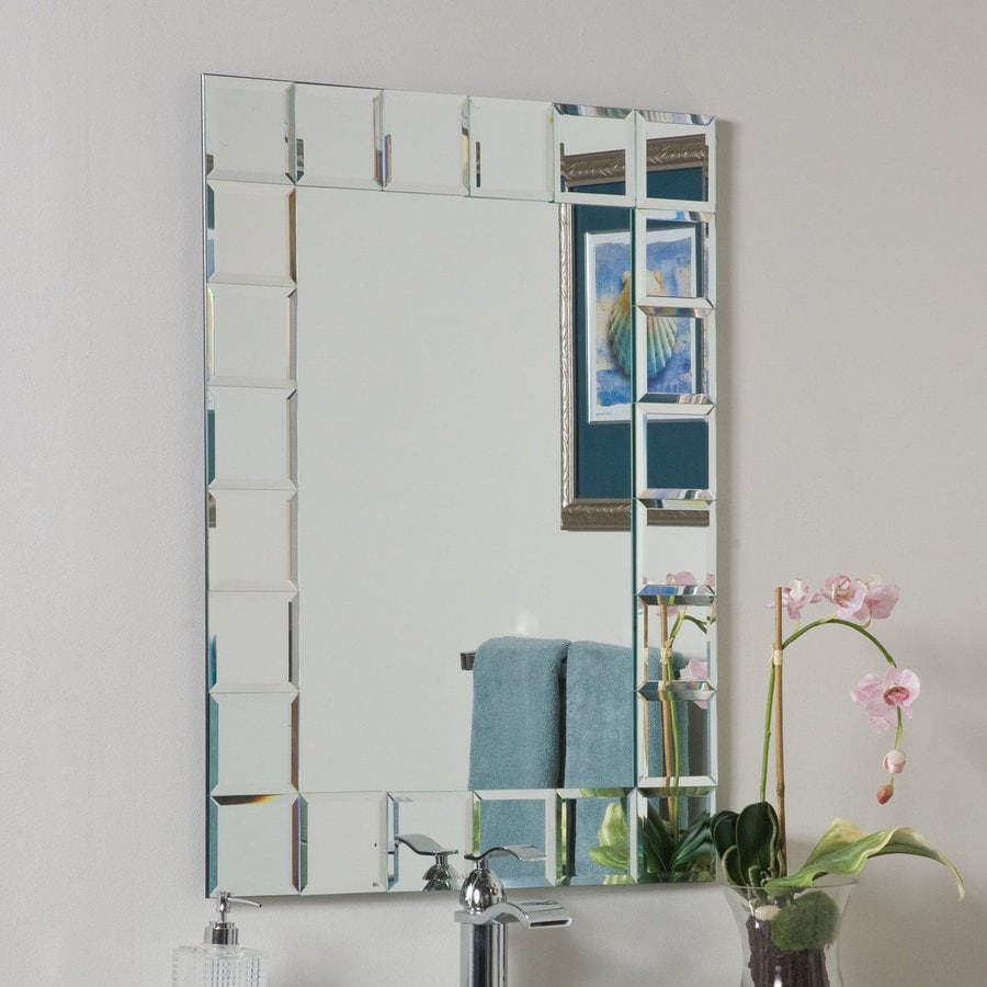 decor wonderland montreal 236in x 315in clear rectangular framed bathroom mirror