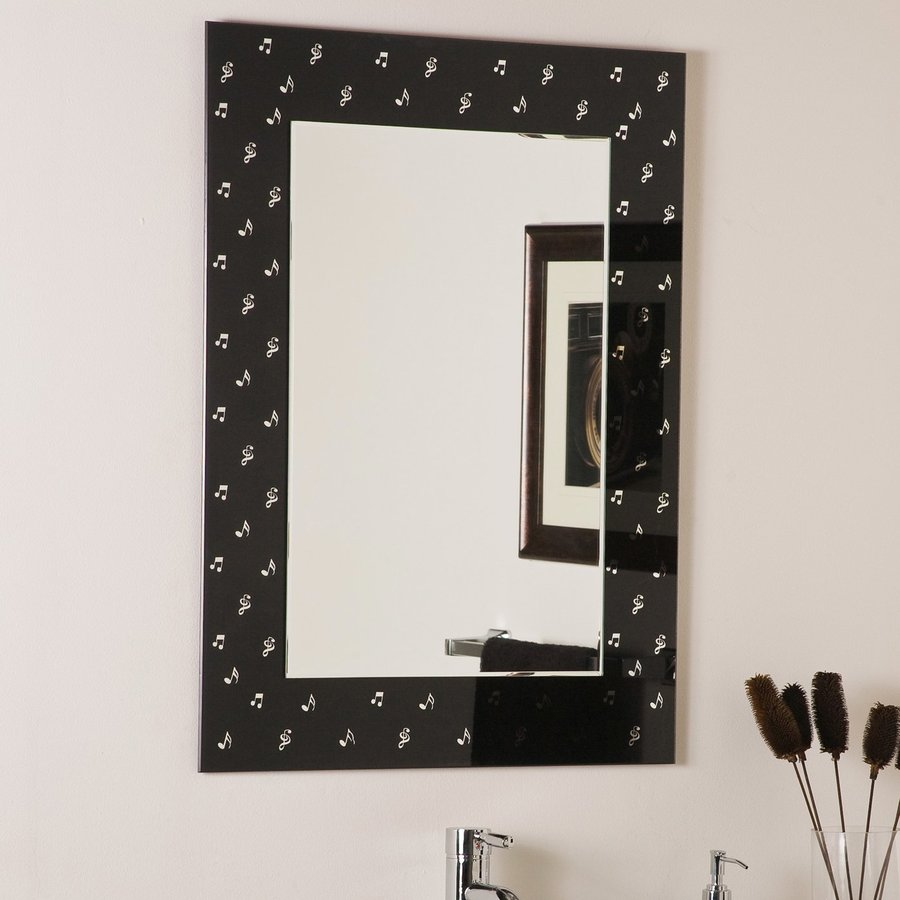 Decor Wonderland 23.6-in W x 31.5-in H Black Rectangular Bathroom Mirror