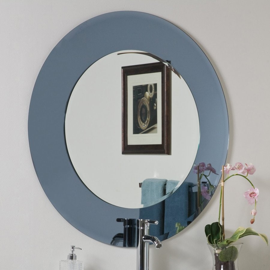 Decor Wonderland Camilla 35-in x 35-in Gray Round Framed Bathroom Mirror