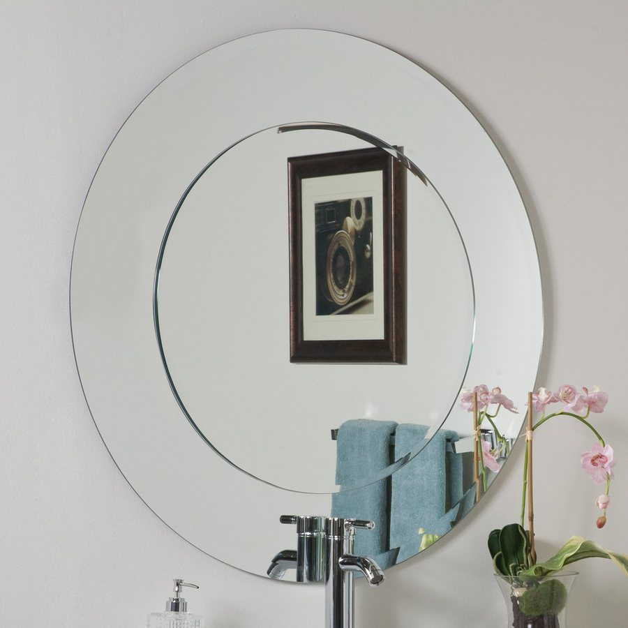 Shop decor wonderland oriana 35 in x 35 in round frameless for Bathroom decor mirrors