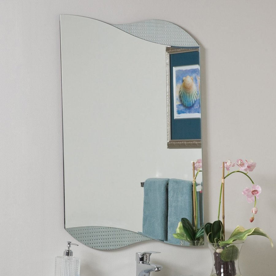 Decor Wonderland Sonia 23.6-in W x 33.5-in H Frameless Bathroom Mirror with Hardware and Beveled Edges