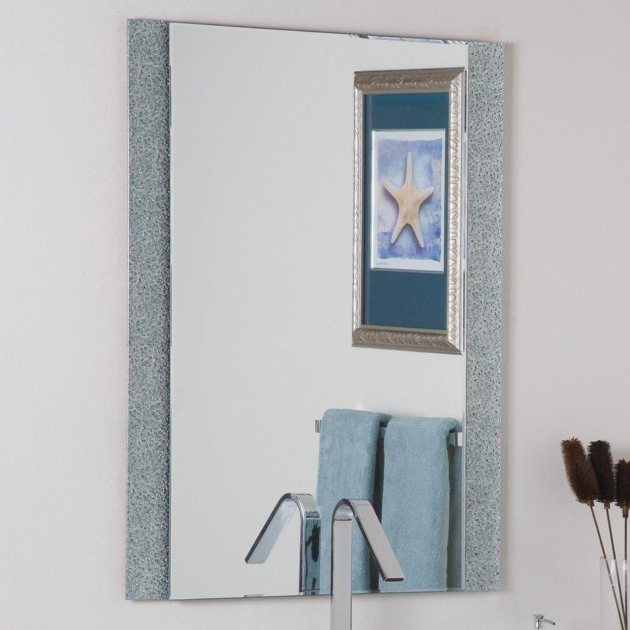 Decor Wonderland Dune 23.6-in W x 31.5-in H Rectangular Frameless Bathroom Mirror with Hardware and Beveled Edges