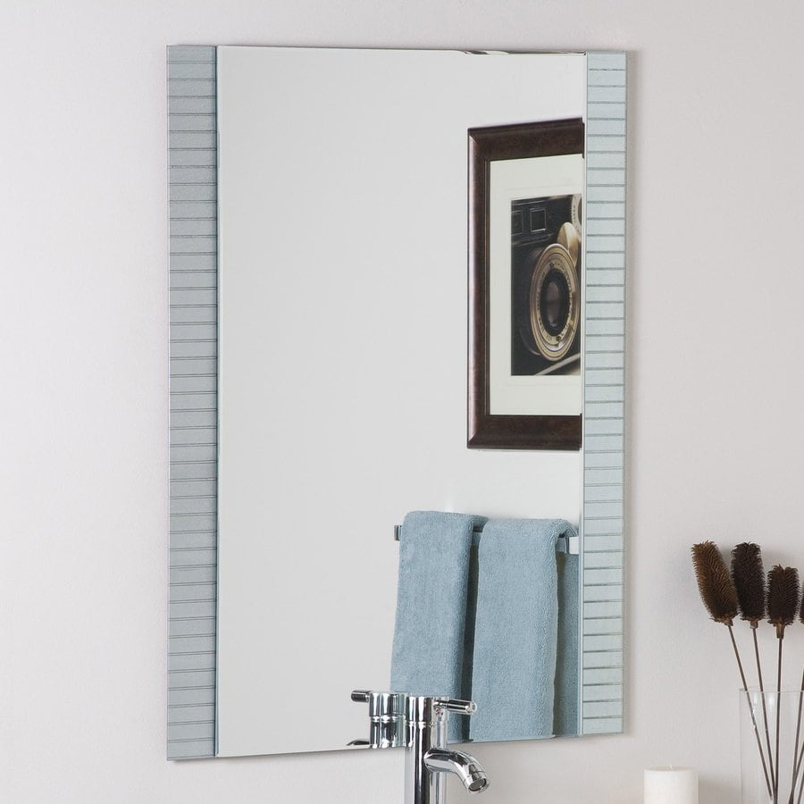 Decor Wonderland Sam 23.6-in W x 31.5-in H Rectangular Frameless Bathroom Mirror with Hardware and Beveled Edges