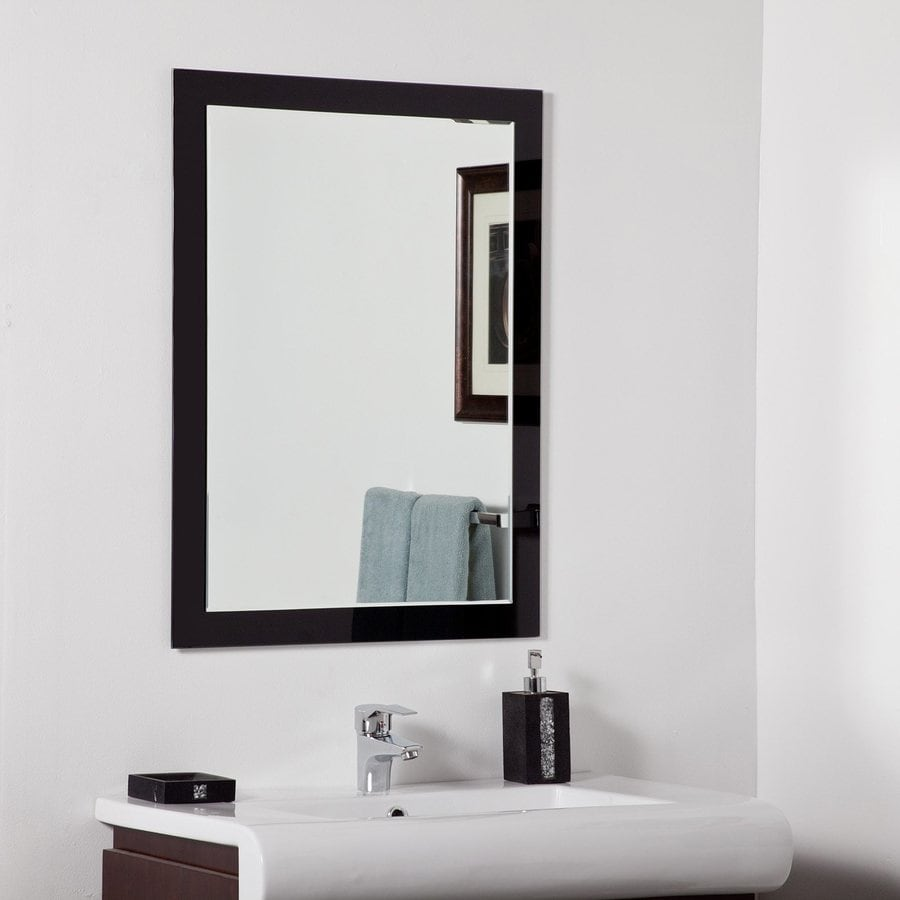 Decor Wonderland Aris 23.6-in x 31.5-in Black Rectangular Framed Bathroom Mirror