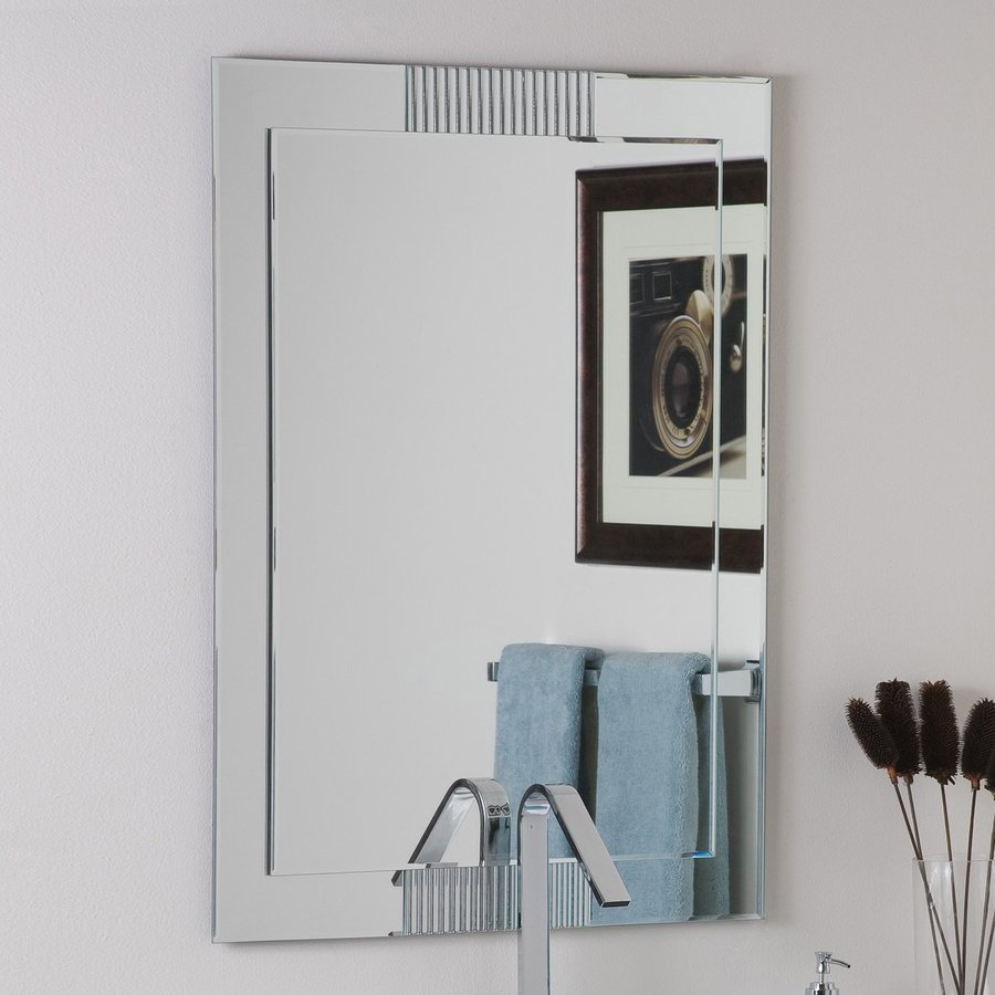 Decor Wonderland Francisco 23.6-in W x 31.5-in H Rectangular Frameless Bathroom Mirror with Hardware and Decorative Edges