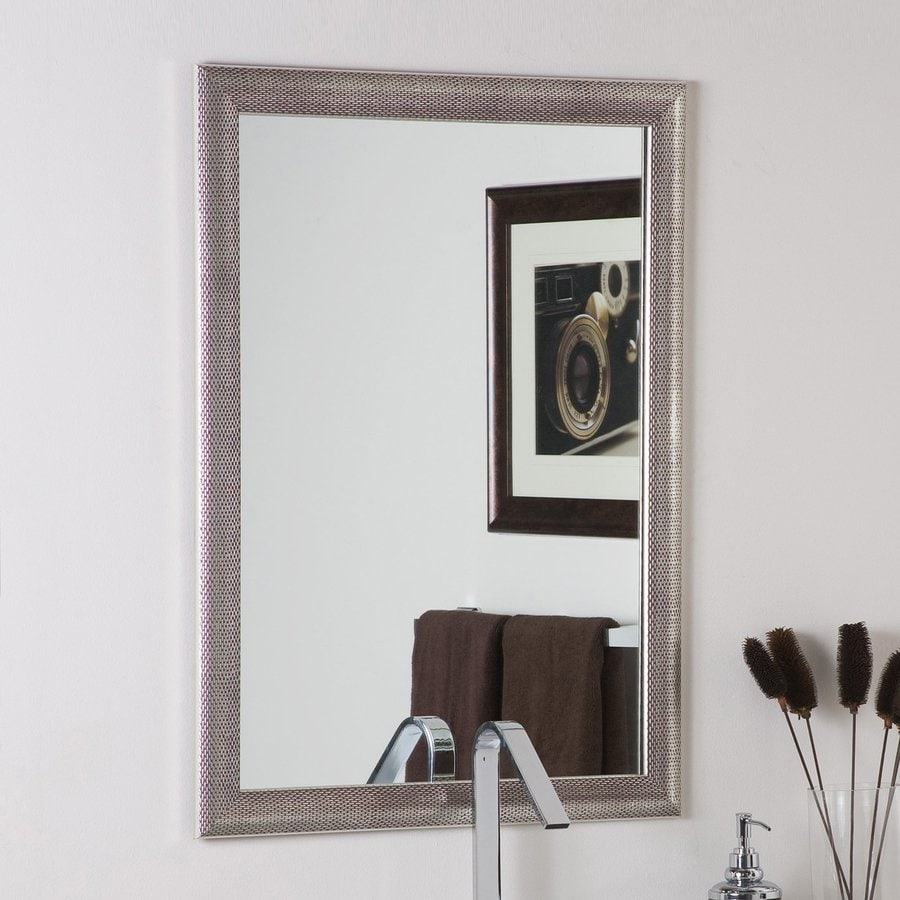 Framed Bathroom Mirrors At Lowes shop decor wonderland 23.6-in x 31.5-in silvertone distressed